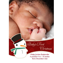 Christmas Photo Cards 5x7 Cards, Premium Cardstock 120lb with Rounded Corners, Card & Stationery -Sweet Snowman