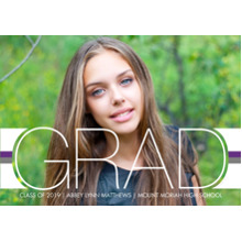 2019 Graduation Announcements 5x7 Cards, Premium Cardstock 120lb with Scalloped Corners, Card & Stationery -Color Stripes Grad by Hallmark