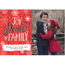 Christmas Photo Cards 5x7 Cards, Premium Cardstock 120lb with Rounded Corners, Card & Stationery -Christmas Peace Script
