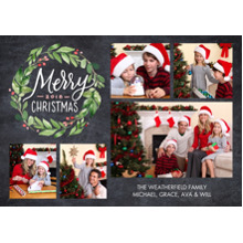 Christmas Photo Cards 5x7 Cards, Premium Cardstock 120lb with Elegant Corners, Card & Stationery -Christmas 2018 Painted Wreath Collage by Tumbalina