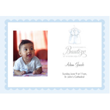 Christening + Baptism 5x7 Cards, Premium Cardstock 120lb, Card & Stationery -Spanish - Fancy Little Suit