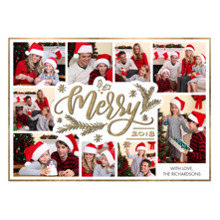 Christmas Photo Cards 5x7 Cards, Premium Cardstock 120lb with Scalloped Corners, Card & Stationery -2018 Christmas Merry Collage by Tumbalina