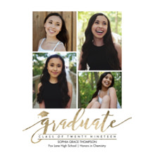 2019 Graduation Announcements 5x7 Cards, Premium Cardstock 120lb with Rounded Corners, Card & Stationery -Graduate Cap Twenty Nineteen by Tumbalina