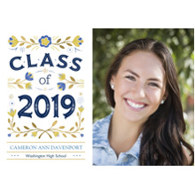 2019 Graduation Announcements 5x7 Cards, Premium Cardstock 120lb with Scalloped Corners, Card & Stationery -2019 Blue Green Floral by Hallmark