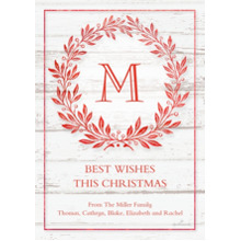 Christmas Photo Cards 5x7 Cards, Premium Cardstock 120lb with Rounded Corners, Card & Stationery -Monogram Wreath Woodgrain
