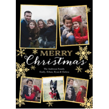 Christmas Photo Cards 5x7 Cards, Premium Cardstock 120lb with Elegant Corners, Card & Stationery -Christmas Gold Smowflakes
