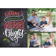 Christmas Photo Cards 5x7 Cards, Premium Cardstock 120lb with Rounded Corners, Card & Stationery -Christmas Rustic Merry and Bright
