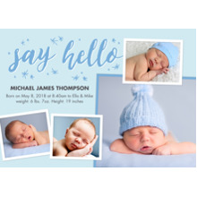 Baby Boy Announcements 5x7 Cards, Standard Cardstock 85lb, Card & Stationery -Baby Blue Hello