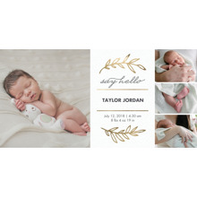 Baby Boy Announcements 4x8 Flat Card Set, 85lb, Card & Stationery -Baby Gold Leaves Collage
