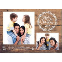 Christmas Photo Cards 5x7 Cards, Premium Cardstock 120lb with Scalloped Corners, Card & Stationery -Christmas 2017 Woodgrain