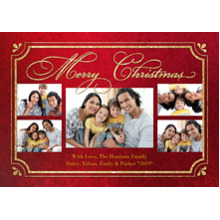 Christmas Photo Cards 5x7 Cards, Premium Cardstock 120lb with Rounded Corners, Card & Stationery -Christmas Elegant Golden Frame