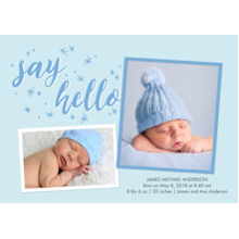 Baby Boy Announcements 5x7 Cards, Standard Cardstock 85lb, Card & Stationery -Baby Blue Stars