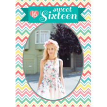 Birthday Party Invites 5x7 Cards, Premium Cardstock 120lb with Rounded Corners, Card & Stationery -Sweet 16 Ribbon Zigzag Birthday