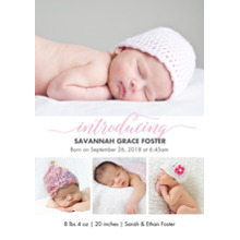 Baby Girl Announcements 5x7 Cards, Premium Cardstock 120lb with Rounded Corners, Card & Stationery -Baby Pink Introducing