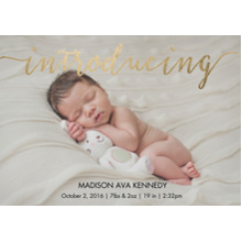 Baby Boy Announcements Flat Matte Photo Paper Cards with Envelopes, 5x7, Card & Stationery -Baby Gold Script