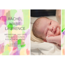 Baby Announcements 5x7 Cards, Premium Cardstock 120lb with Rounded Corners, Card & Stationery -Paint Stroke Sunrise