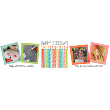 Birthday 2x8 Peel, Stick & Reuse Banner, Home Decor -Striped Candles