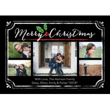Christmas Photo Cards 5x7 Cards, Premium Cardstock 120lb with Scalloped Corners, Card & Stationery -Christmas Holly Frame
