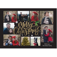 Christmas Photo Cards 5x7 Cards, Premium Cardstock 120lb with Elegant Corners, Card & Stationery -Christmas Holly Script by Tumbalina