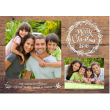 Christmas Photo Cards 5x7 Cards, Premium Cardstock 120lb with Elegant Corners, Card & Stationery -Christmas 2018 Woodgrain by Tumbalina
