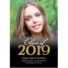 2019 Graduation Announcements 5x7 Cards, Premium Cardstock 120lb with Rounded Corners, Card & Stationery -Grad Gold Glitter by Tumbalina