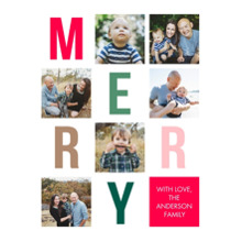 Christmas Photo Cards 5x7 Cards, Premium Cardstock 120lb with Elegant Corners, Card & Stationery -Christmas Merry Letters