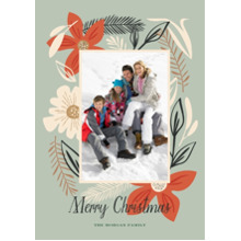 Christmas Photo Cards 5x7 Cards, Premium Cardstock 120lb with Rounded Corners, Card & Stationery -Holiday Florals