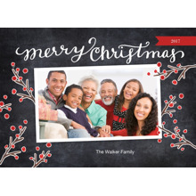 Christmas Photo Cards 5x7 Cards, Premium Cardstock 120lb with Elegant Corners, Card & Stationery -Christmas Red Berries