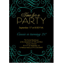 Birthday Party Invites 5x7 Cards, Premium Cardstock 120lb, Card & Stationery -Elegant Time for a Party