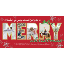 Christmas Photo Cards 4x8 Flat Card Set, 85lb, Card & Stationery -Christmas Merry Photo Holes