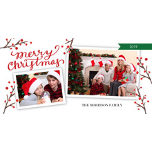 Christmas Photo Cards 4x8 Flat Card Set, 85lb, Card & Stationery -Christmas Red Berries