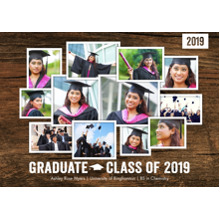 2019 Graduation Announcements 5x7 Cards, Premium Cardstock 120lb with Rounded Corners, Card & Stationery -2019 Graduate Collage by Tumbalina