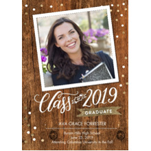 2019 Graduation Announcements 5x7 Cards, Premium Cardstock 120lb with Rounded Corners, Card & Stationery -Graduate 2019 Banner by Tumbalina