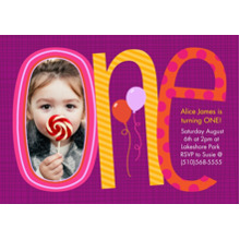 Birthday Party Invites 5x7 Cards, Premium Cardstock 120lb with Elegant Corners, Card & Stationery -First Birthday Purple