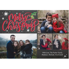 Christmas Photo Cards 5x7 Cards, Premium Cardstock 120lb with Scalloped Corners, Card & Stationery -Christmas Holly Script by Tumbalina