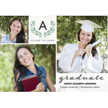 2019 Graduation Announcements 5x7 Cards, Premium Cardstock 120lb with Rounded Corners, Card & Stationery -Graduate 2019 Monogram by Tumbalina