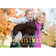 Christmas Photo Cards 5x7 Cards, Premium Cardstock 120lb with Elegant Corners, Card & Stationery -Sparkling Gold Christmas