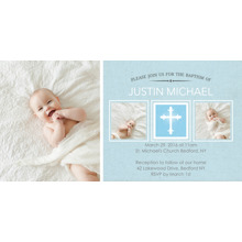 Christening + Baptism Flat Glossy Photo Paper Cards with Envelopes, 4x8, Card & Stationery -Baptism Cross Middle Box
