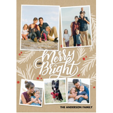 Christmas Photo Cards 5x7 Cards, Premium Cardstock 120lb with Rounded Corners, Card & Stationery -Christmas Merry and Bright Collage
