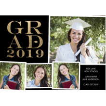2019 Graduation Announcements 5x7 Cards, Premium Cardstock 120lb with Rounded Corners, Card & Stationery -Grad 2019 Bold by Tumbalina