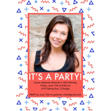 Birthday Party Invites 5x7 Cards, Premium Cardstock 120lb with Elegant Corners, Card & Stationery -Memphis Pattern Invite
