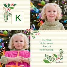 Christmas Photo Cards 5x5 Flat Card Set, 85lb, Card & Stationery -Classic Holly Monogram