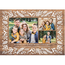 Christmas Photo Cards 5x7 Cards, Premium Cardstock 120lb with Rounded Corners, Card & Stationery -Christmas Rustic Border by Tumbalina