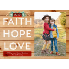 Christmas Photo Cards 5x7 Cards, Premium Cardstock 120lb with Rounded Corners, Card & Stationery -Rustic Faith Hope Love by Hallmark