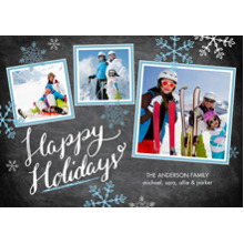 Christmas Photo Cards 5x7 Cards, Premium Cardstock 120lb with Rounded Corners, Card & Stationery -Holiday Blue Snowflakes Chalkboard