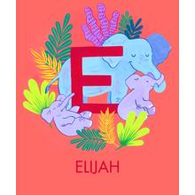 Non Photo Plush Fleece Photo Blanket, 50x60, Gift -Animal Monogram E
