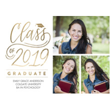 2019 Graduation Announcements 5x7 Cards, Premium Cardstock 120lb with Scalloped Corners, Card & Stationery -2019 Brilliant Script by Tumbalina