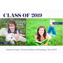 2019 Graduation Announcements 5x7 Cards, Premium Cardstock 120lb with Scalloped Corners, Card & Stationery -2019 Class of Year Banner by Tumbalina