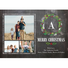 Christmas Photo Cards 5x7 Cards, Premium Cardstock 120lb with Elegant Corners, Card & Stationery -Christmas Organic Wreath Monogram