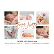 Baby Boy Announcements 5x7 Cards, Premium Cardstock 120lb with Elegant Corners, Card & Stationery -Baby Hello Script